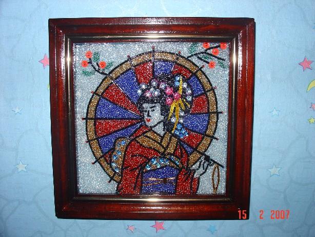 Мозаика из бисера.  Китаянка.